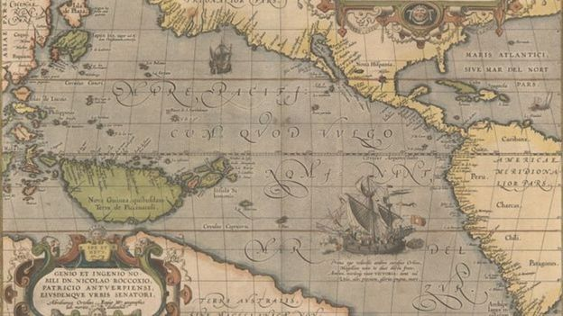 Um mapa do oceano Pacífico desenhado em 1595