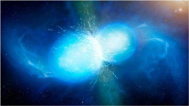 Ilustração de duas estrelas de nêutron colidindo
