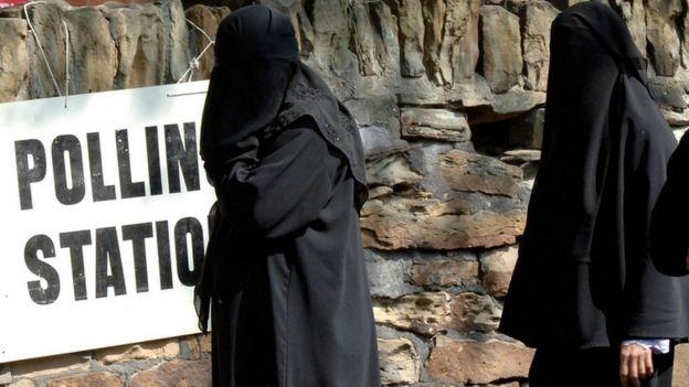 Women wearing niqab and burka veil