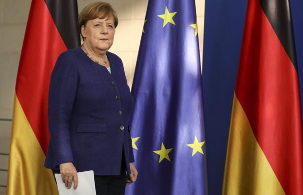 German Chancellor Angela Merkel holds a press conference at the Chancellery on May 20, 2020 in Berlin, Germany