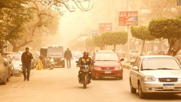 Sandstorms and harsh weather are blowing through parts of the Middle East, with visibility down in the Egyptian capital, Cairo, 16 January 2019