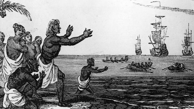 Población aborigen recibe a las naos de Magallanes.