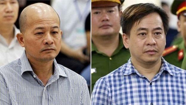 Các ông Đinh Ngọc Hệ (tức Út Trọc - trái) và Phan Văn Anh Vũ (tức Vũ Nhôm) ra tòa tại Việt Nam