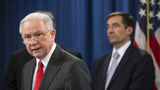 美国司法总长塞申斯宣布将致力打击中国的经济犯罪行为。