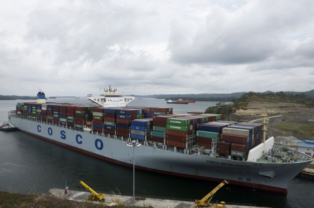 Container ship Cosco Development, registered and sailing under the flag of Hong Kong, with capacity for more than 13,000 containers, is seen at the Agua Clara locks in Colon, 90 km from Panama City on May 2, 2017. The Cosco Development became Thursday the largest ship to cross the Panama Canal. / AFP PHOTO / RODRIGO ARANGUA (Photo credit should read RODRIGO ARANGUA/AFP/Getty Images)
