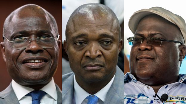 Composite of three candidates (L-R): Martin Fayulu, Emmanuel Shadary and Felix Tshisekedi