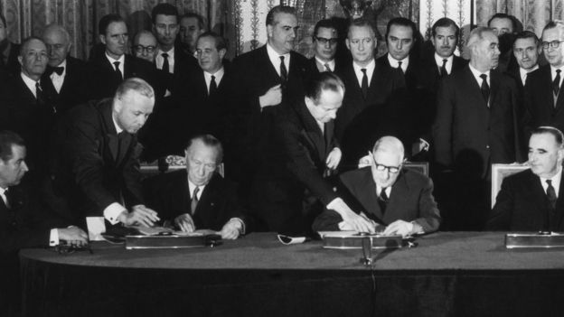 Konrad Adenauer, Chancellor Of The Federal Republic Of Germany And General De Gaulle, President Of The French Republic, Signing the Elysee Treaty