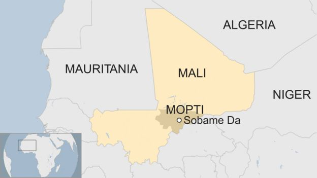 A map shows the approximate location of Sobame Da inside of the Mopti region in Mali