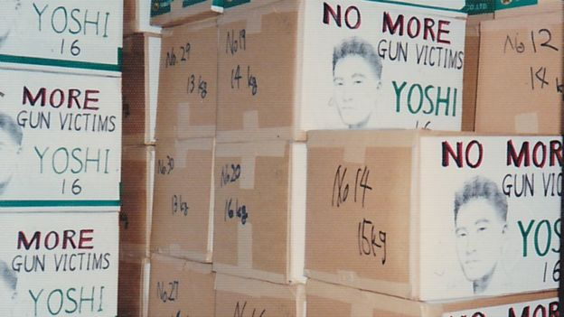 Boxes filled with petitions sent to the US to campaign for an end to easy access to guns, organised by the Hattoris