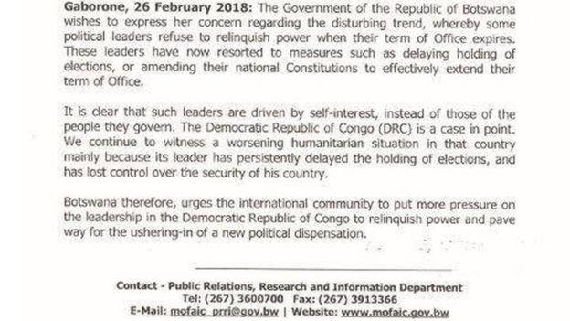 """Le Botswana dénonce les """"leaders politiques [qui] refusent de renoncer au pouvoir à la fin de leur mandat""""."""