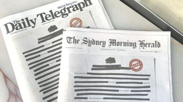 روزنامههای استرالیا در اقدامی نمادین، صفحه یک خود را سانسورشده چاپ کردند