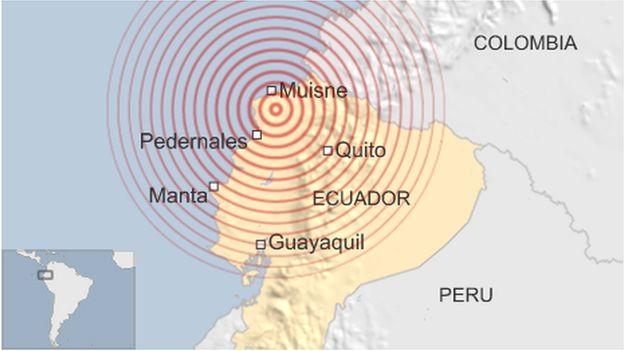 A map showing an earthquake in Ecuador