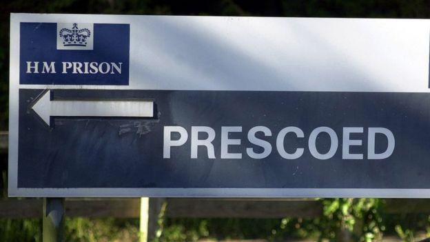 Prescoed prison sign