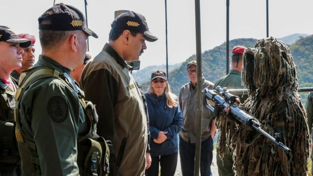 Venezuela's President Nicolas Maduro (C) attends military exercises at the Bolivarian National Guard Command in Macarao, Caracas, 1 February 2019