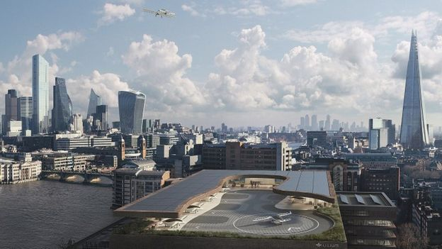 Artists impression of a Lilium landing site in London