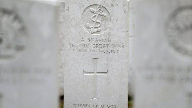 The grave stone of an unknown Seaman in Tyne Cot Commonwealth War Graves Cemetery, near to Ypres in Belgium