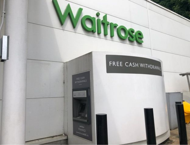 Cash machine at a Waitrose branch