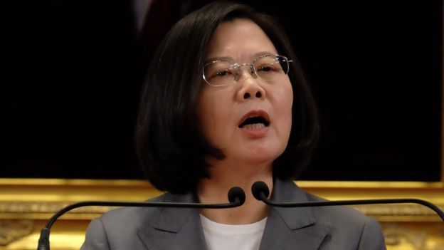 Taiwan's President Tsai Ing-wen speaks during a press conference at the Presidential Office in Taipei on August 21, 2018
