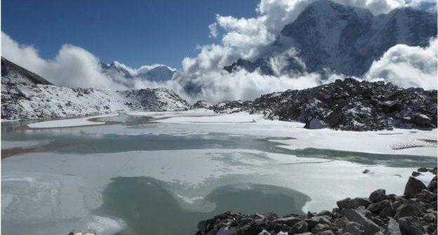昆布冰川上的湖泊
