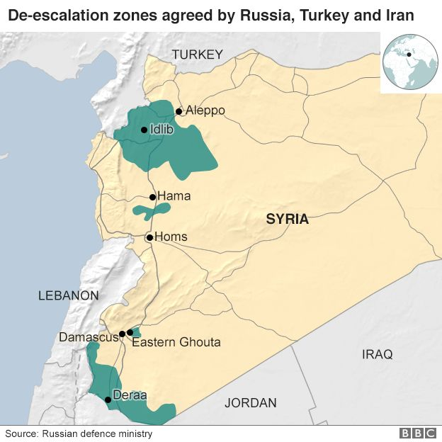 Syria war turkey russia iran agree idlib ceasefire zone bbc news map showing proposed de escalation zones in syria gumiabroncs Gallery