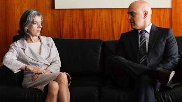 Ministra Cármen Lúcia e Alexandre de Moraes em Brasília
