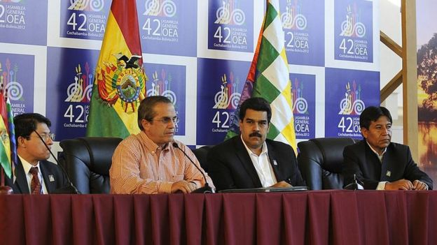 El representante de Nicaragua ante la the OEA, Deniz Moncada, el ministro de Exterior de Ecuador, Ricardo Patiño, el presidente de Venezuela, Nicolás Maduro, y David Choquehuanca, de Bolivia, durante una conferencia de prensa en el marco de la tercera sesión plenaria de la Asamblea General de la OEA el 5 de junio de 2012.