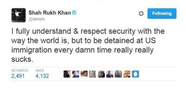 Bollywood star Shah Rukh Khan stopped at US airport - BBC News