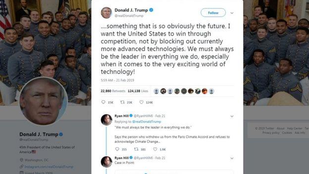 美国总统特朗普的推特