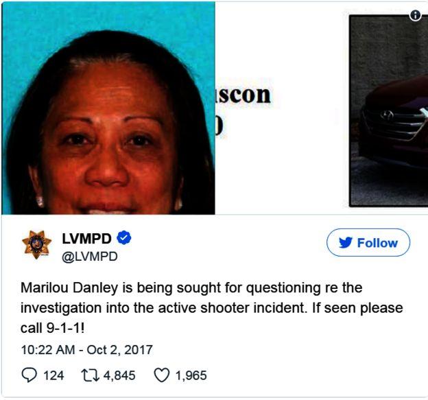 警方證實,他們在尋找一名叫Marilou Danely的亞裔女子。