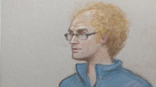 Illustration of Matthew Falder in court.
