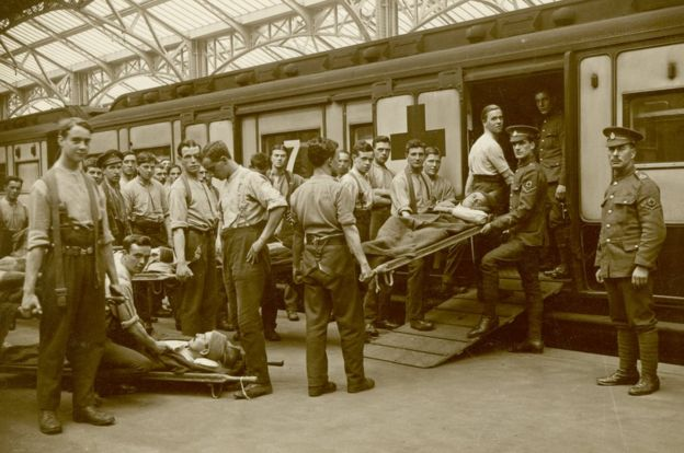 Soldiers and hospital train