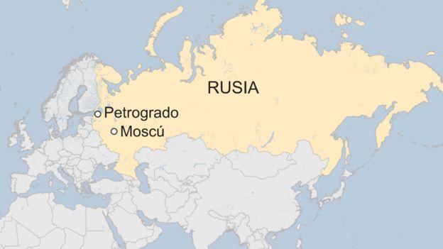 Mapa de Petrogrado en Rusia