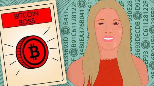 Dibujo de joven con sigo de bitcoin.