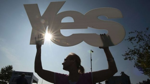 Yes voter ahead of the referendum