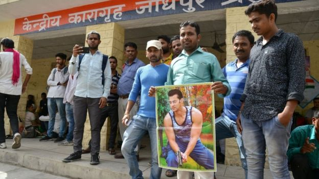 Fans show support outside the central jail in Jodhpur