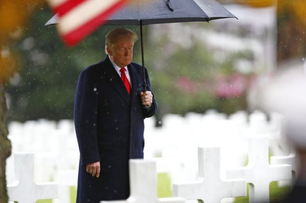 Donald Trump visits the Suresnes American Cemetery in France, 11 November 2018