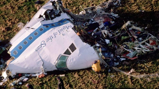 Restos del avión de Pan Am cerca de Lockerbie.