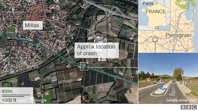 Map showing the location of the crash