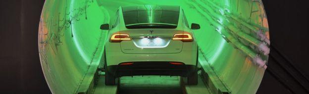 Tesla car in LA test tunnel. 18 Dec 2018
