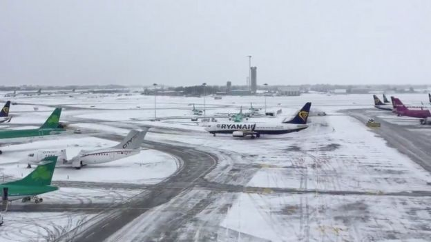 Dublin Airport is seen covered with snow, in Ireland, March 1, 2018