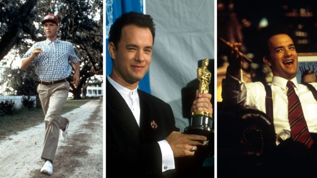 Tom Hanks playing the title role in Forrest Gump, posing with his best actor Oscar in 1995 and as Andrew Beckett in Philadelphia