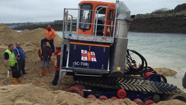 Amphibious RNLI vehicle worth £1m stuck on Cornish beach