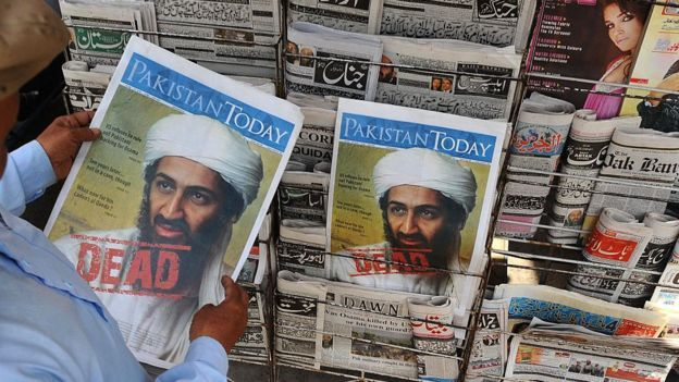Pakistani newspapers showing the death of Bin Laden