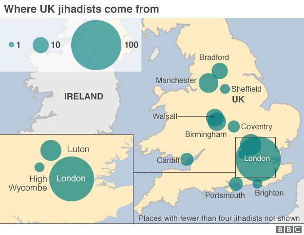 Map of origins of UK jihadists showing hotspots in London, Birmingham, Manchester, Cardiff and Portsmouth.