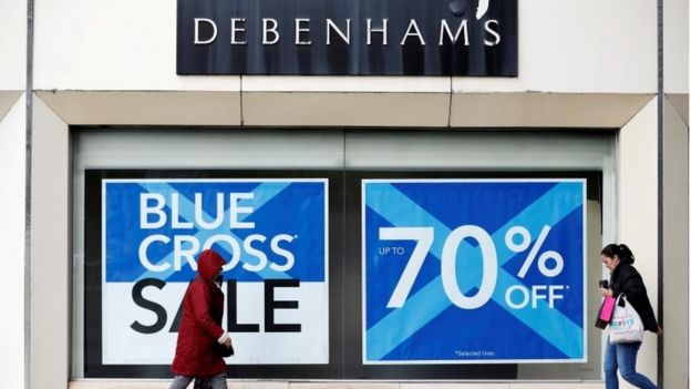 5c005b6c158bc Exterior Debenhams store Stockport with Blue Cross signs