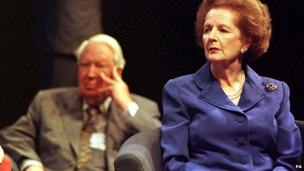 Sir Edward sitting behind Mrs Thatcher at the 1998 Tory party conference