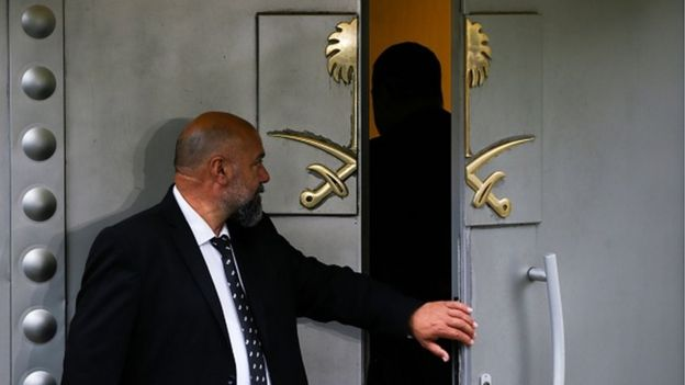 Front door of Saudi consulate is seen as the waiting continues on the disappearance of Prominent Saudi journalist Jamal Khashoggi in the Consulate General of Saudi Arabia in Istanbul, Turkey