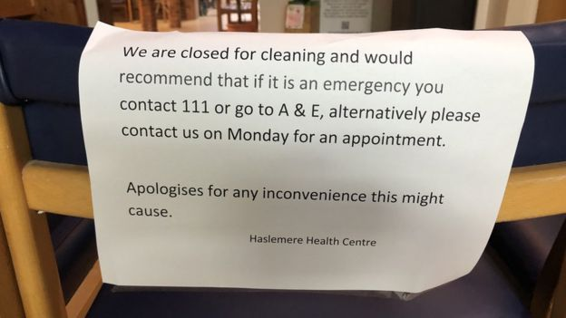Signs posted in Haslemere Health Centre