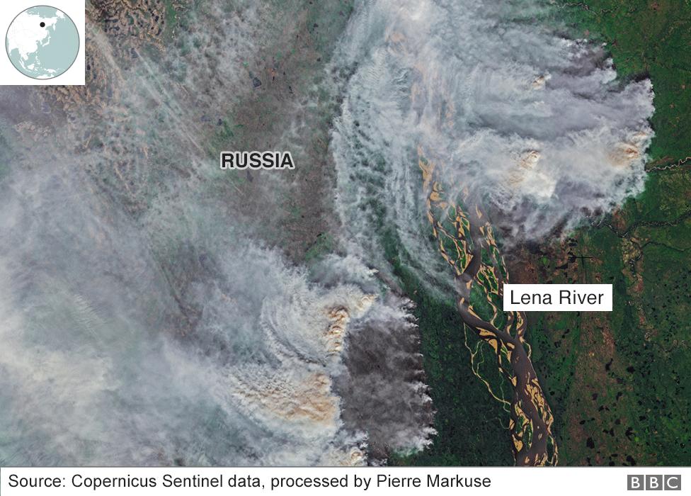 Imagen satelital que muestra los incendios forestales que se registraron en Siberia este verano.
