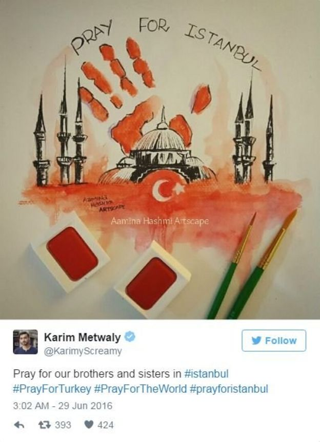 A water colour picture of an Istanbul mosque with a red handprint behind it and the Tweet reads Pray for our brothers and sisters in Istanbul.